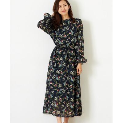 【Green Parks(グリーンパークス)】。花柄ギャザーワンピース (ワンピース)Dress