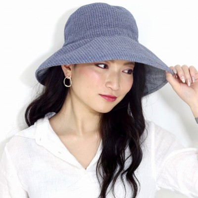 春夏 UVカット 帽子 レディース セーラー ハット カルキュロ 婦人 セーラーハット UVプロテクト エリートシャポー サイズ調節可 ELITE CHAPEAU ネイビー