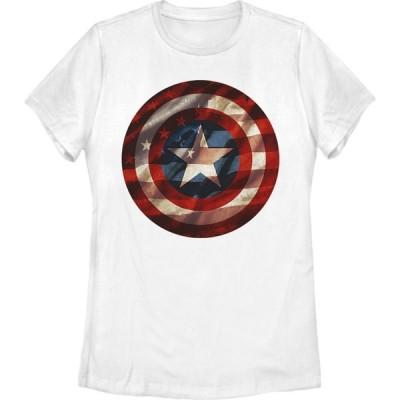 フィフス サン Fifth Sun レディース Tシャツ トップス Marvel Captain America Avengers Shield Flag T-Shirt white