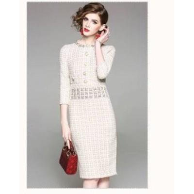 パーティドレス ひざ丈 袖あり 七分袖 40代 白 秋冬 結婚式 タイト 大人可愛い きちんと感 きれいめ エレガント b743