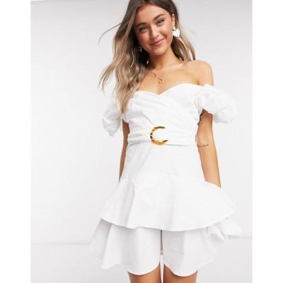 アウトレイジャスフォーチュン ミニドレス レディース Outrageous Fortune puff sleeve wrap over ruffle mini dress in white エイソス ASOS ホワイト 白