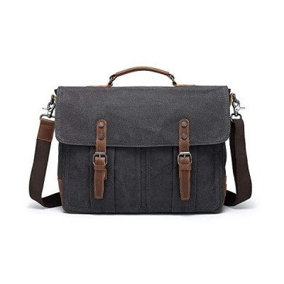 Mens Briefcases Messenger Bag Vintage Leather Waxed Canvas Waterproof Shoul