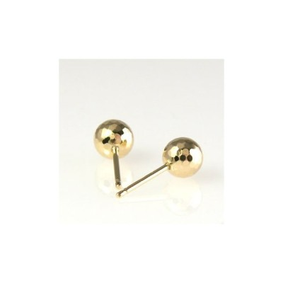 K18ゴールド 丸玉6mmミラーカットピアス(0.9mm芯・シリコンキャッチ付き)(B308E)-T