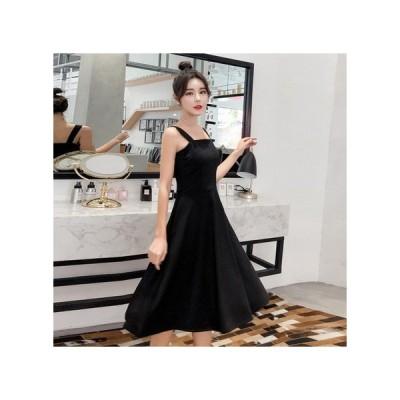 ノースリーブ シンプル パーティードレス フレアスカート ミモザ丈 レディース ワンピ ース お呼ばれドレス kh-0806
