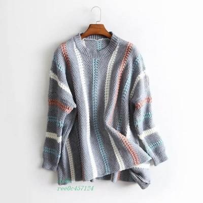 ニット トップス レディース 冬 冬物 長袖 ミディアム丈 ケーブル編み ボリューム袖 送料無料 オーバーサイズ