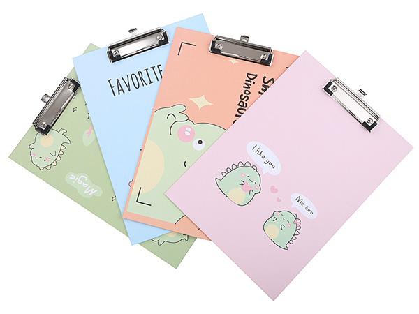 創意紙質恐龍圖案A4文件夾/書寫板(1入) 顏色隨機出貨【D011772】