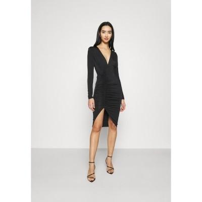 ニリーバイネリー ワンピース レディース トップス PLUNGE RUCHED DRESS - Jersey dress - black