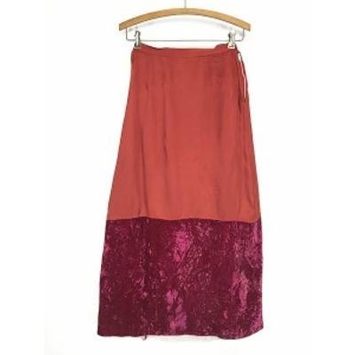 レディース 古着 50s 無地 シンプル デザイン サテン×ベロア 切り替え 光沢 ロング スカート M 古着