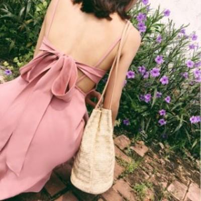 甘いピンクのワンピース バックレース シフォン ドレス リゾート ビーチスカート