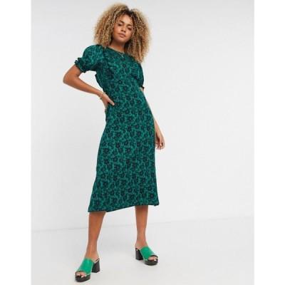 トップショップ Topshop レディース ワンピース ワンピース・ドレス floral print midi tea dress in green グリーン