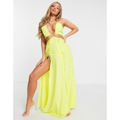 エイソス レディース ワンピース トップス ASOS DESIGN lace up high split beach maxi dress in acid yellow Acid yellow
