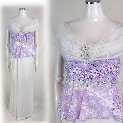 B級品 キャバドレス ロングドレス パーティドレス バイカラー オフショルダー ストレッチサテン Lサイズ