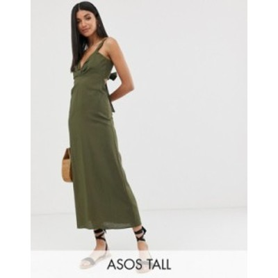 エイソス レディース ワンピース トップス ASOS DESIGN Tall knot front linen maxi dress with tie back Khaki