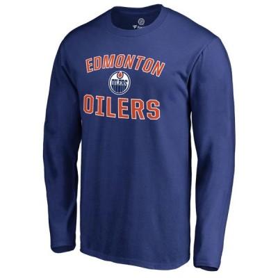 ユニセックス スポーツリーグ ホッケー Edmonton Oilers Victory Arch Long Sleeve T-Shirt - Royal Tシャツ