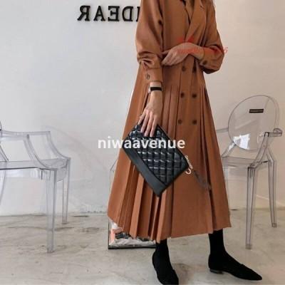 2色 アウター レディース コート ワンピ きれいめ トレンチコート 長袖 おしゃれ デザイン ロング 切り替え ブラウン ワンピース ドレス ダブルボタン プリーツ