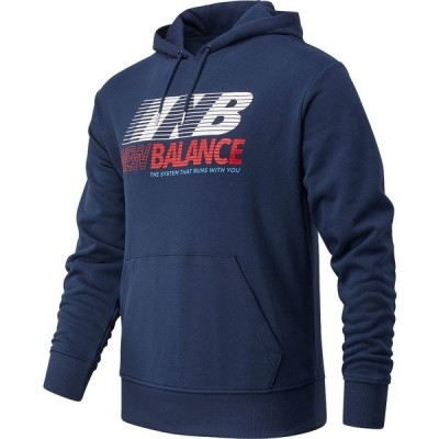 ニューバランス パーカー・スウェットシャツ アウター メンズ New Balance Men's Essentials Speed Pullover Hoodie Navy