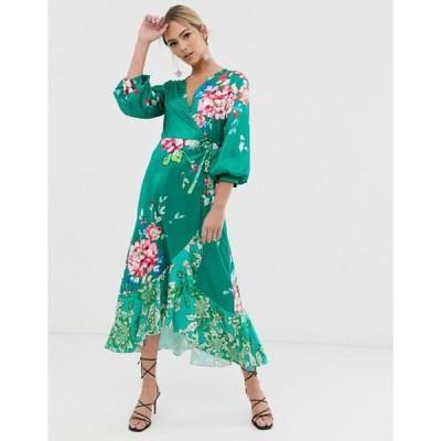 リクオリッシュ レディース ワンピース トップス Liquorish wrap front midi tea dress in green floral print
