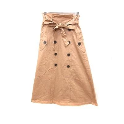 【中古】Roche glamour スカート フレア ロング ウエストマーク M 茶 ブラウン /RT レディース 【ベクトル 古着】