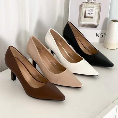 パンプス プレーン ポインテッドトゥ ハイヒール ピンヒール レディース 靴 婦人靴 ブラック ブラウン ベージュ ホワイト 黒 茶色 白 歩きやすい 痛くない