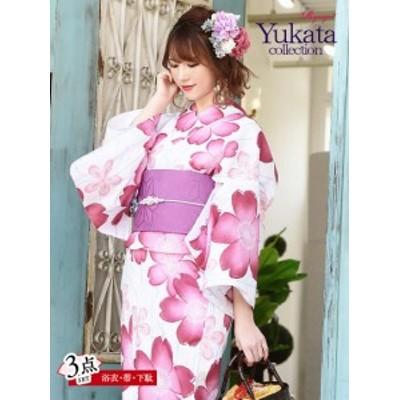 浴衣 セット レディース ゆかた 帯 下駄 キャバ Ryuyu 白 かわいい ピンク 花柄