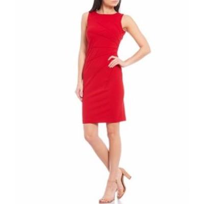カルバンクライン レディース ワンピース トップス Ruched Crepe Sleeveless Sheath Dress Red