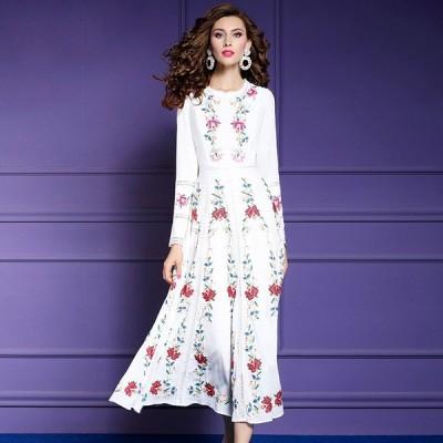 パーティドレス ♪セレブファッション フレアワンピース 春夏新作 ロングドレス 鮮やかな花柄刺繍で大人上品に魅せる 他と被らない 【送料無料】