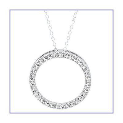 Dazzlingrock Collection (ctw) 10K ラウンド 人工 ホワイト ダイヤモンド レディース サークル ペンダント ホワイ