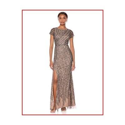 【新品】Adrianna Papell Women's Beaded MESH Dress, Lead/Nude, 14【並行輸入品】