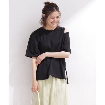 (nano・universe/ナノユニバース)ショルダースリットTシャツ 半袖/レディース ブラック