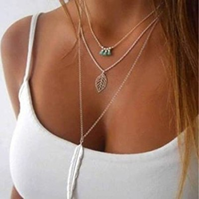 Bodiy Boho Layered Necklaces Gold Feather Beach Pendant Necklace Chain Turquoise Leaf Jewerly for Women and Girls