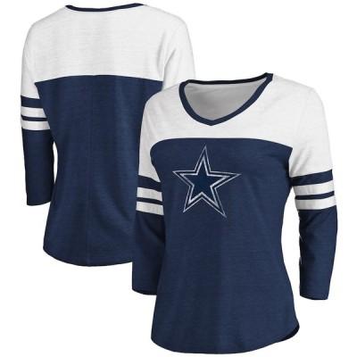 """レディース Tシャツ """"Dallas Cowboys"""" Fanatics Branded Women's Distressed Team Striped 3/4-Sleeve V-Neck T-Shirt - Heathered Navy/White"""
