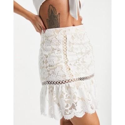 ラブトライアングル Love Triangle レディース ミニスカート スカート lace mini skirt with flounce in ivory co-ord アイボリー