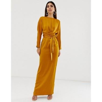 エイソス レディース ワンピース トップス ASOS DESIGN maxi dress with batwing sleeve and wrap waist in satin