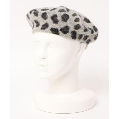 帽子 レオパード柄ベレー帽