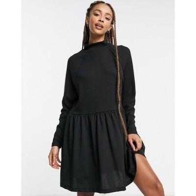 エイソス レディース ワンピース トップス ASOS DESIGN smock dress with raglan sleeves in waffle cotton mix in black