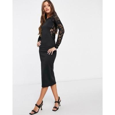 アイソウイットファースト I Saw It First レディース ボディコンドレス ミドル丈 ワンピース・ドレス Lace Panel Bodycon Midi Dress ブラック