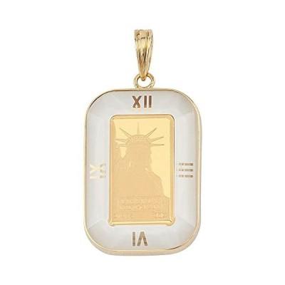 [ハッピーグッツショップ] 純金 K24 コイン 1g ペンダントトップ リバティ 自由の女神 アラベスク 時計文字 ホワ