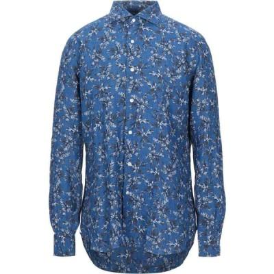 バルバ BARBA Napoli メンズ シャツ トップス linen shirt Blue