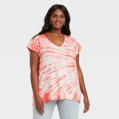 アヴァ&ヴィヴィ Ava & Viv レディース Tシャツ 大きいサイズ Vネック トップス Plus Size V-Neck Short Sleeve Knit T-Shirt - Orange