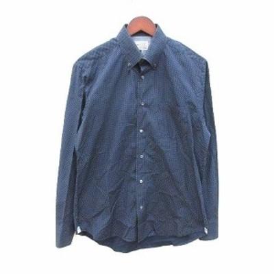 【中古】ジュンメン JUN MEN ボタンダウンシャツ 長袖 ワイシャツ Yシャツ ドット L 紺 ネイビー /CT メンズ
