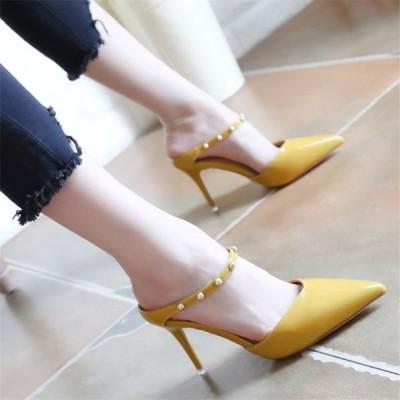 ヒール7.5cm/サイズ21.5-24.5cm パンプス  痛くない ハイヒール レディース  レディースシューズ 靴  パーティー 結婚式 リベット ベルト 美脚