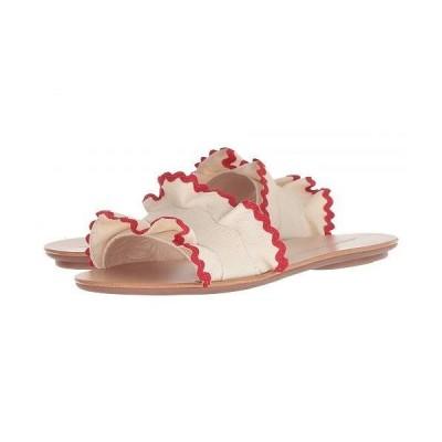 Loeffler Randall ロフラーランドール レディース 女性用 シューズ 靴 サンダル Birdie Ruffle Slide Sandal - Natural Canvas/Red
