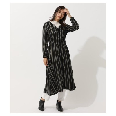 (AZUL by moussy/アズールバイマウジー)COLLARLESS BLOUSING ONEPIECE/レディース 柄BLK5