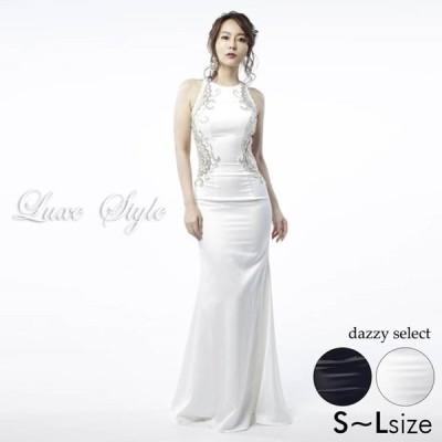 キャバ ドレス キャバドレス ワンピース 大きいサイズ S M L LuxeStyle 51702 バックオープン レース ホルターネック マーメ