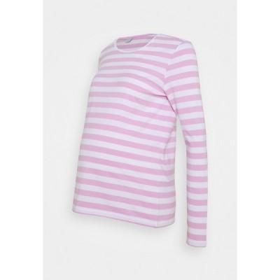 ピーシーズ マタニティ カットソー レディース トップス PCMRIA NEW TEE - Long sleeved top - bright white/pastel lavender