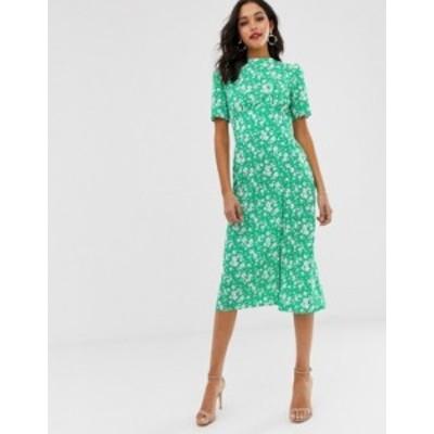 エイソス レディース ワンピース トップス ASOS DESIGN midi tea dress with buttons in floral print Floral