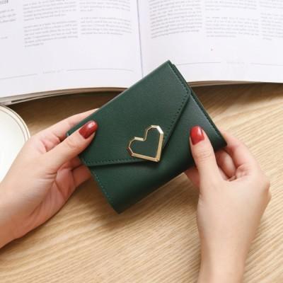 (Beststore/ベストストア)レディースファッション通販使いやすい 軽い 大人可愛い オシャレ 便利 スマホ収納 軽量 PU シンプル リング長財布ハート付き財布二つ折り財布 小銭入れ/レディース グリーン