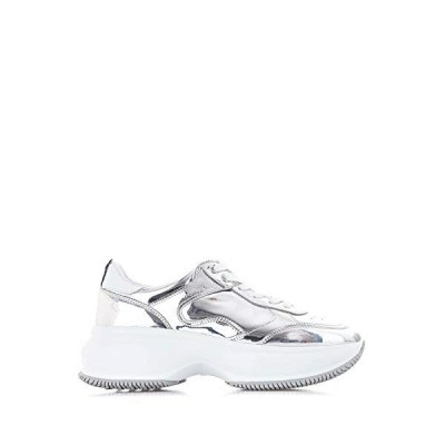Hogan Luxury Fashion Woman HXW4350BN51LME0351 Silver Leather Sneakers | Season Permanent 並行輸入品