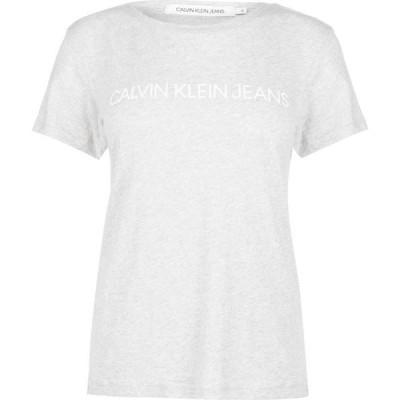 カルバンクライン Calvin Klein Jeans レディース Tシャツ トップス Crew Neck T Shirt Grey Heather