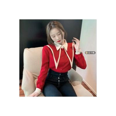 【送料無料】~ レトロ 手厚い デザイン 感 色のシャツ 女性の長袖 秋冬 ボトムシャツ | 364331_A64541-2944864